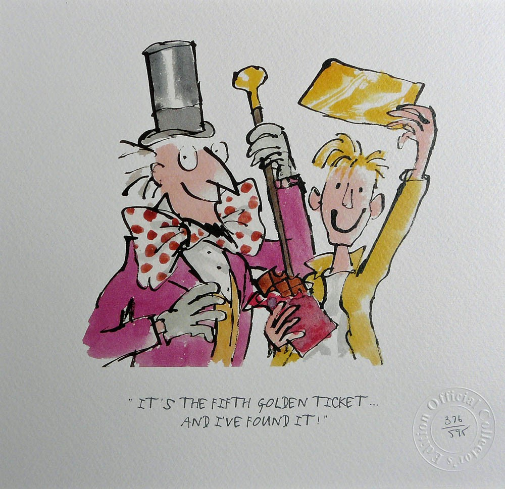 It's the fifth golden ticket by Quentin Blake