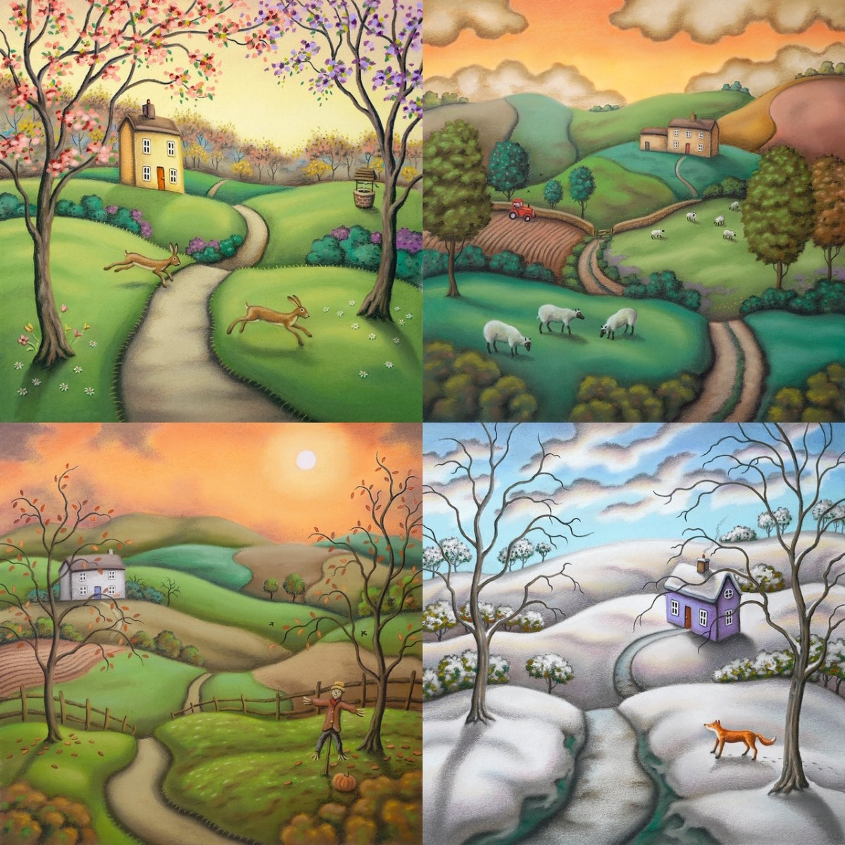Secrets of the Seasons Set of Four - Canvas Board by Paul Horton