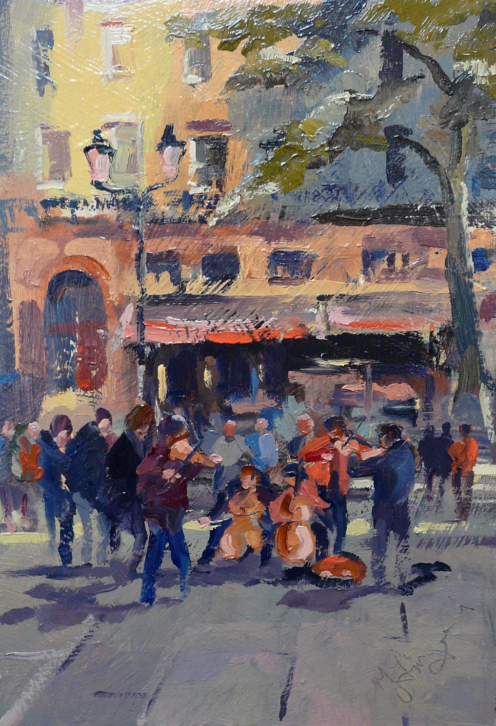 Paris Buskers by Trevor Lingard, Figurative | Abstract | Landscape